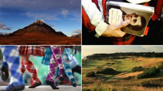 Glen Coe; a book by robert burns; tartan socks; Scottish landscape