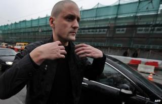 Sergei Udaltsov arrives at the Investigative Committee in Moscow to face charges, 26 October