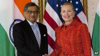 SM Krishna with Secretary of State Hillary Clinton at the United Nations