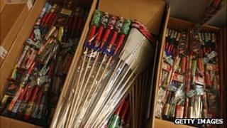 Fireworks being unboxed ready for sale
