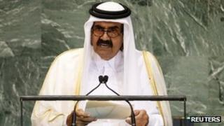 Sheikh Hamad Al Thani speaks at the UN General Assembly (25 September 2012)