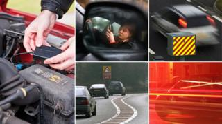 "Black box installed in car engine, woman on phone at wheel, speed camera, fast driving, corner with ""reduce speed now"" sign"