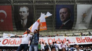 Supporters during AKP rally in Istanbul stadium in May 2012