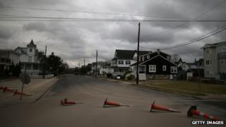 Scattered traffic cones in Cape May, New Jersey. Photo: 30 October 2012