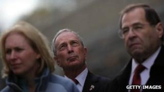 Senator Kirsten Gillibrand Mayor Michael Bloomberg, and Rep. Jerrold Nadler attend a press conference outside the Hugh L Carey Tunnel in NYC 1 November 2012