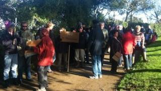 Protesters gathering in Sark
