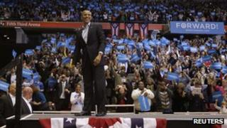 President Barack Obama at a rally in Cincinnati, Ohio (4 Nov 2012)