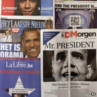 A spread of Belgian newspapers is shown in Brussels on the morning after the US elections