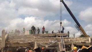 The scene of the collapsed Melcom building - on Friday 9 November 2012