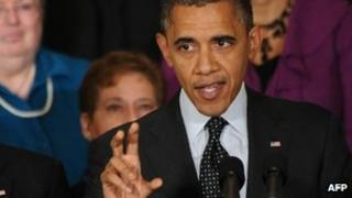 US President Barack Obama speaks on the economy in the East Room of the White House in Washington on 9 November 2012