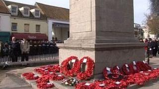 Remembrance Day at the Cenotaph in St Helier, Jersey