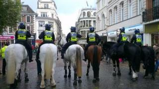 Police horses on Gentlemens Walk