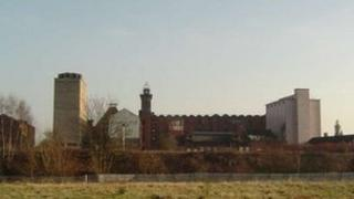 The Flax Mill Maltings site, with the North Silo on the left-hand-side of the picture