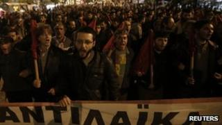 Protesters from the Pame trade union in central Athens (11 Nov 2012)