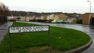 Newlands Gardens sign in Workington