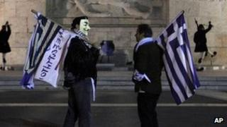 Anti-austerity protesters outside the Greek parliament