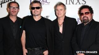 INXS band members Kirk Pengilly, Jon Farriss, Garry Gary Beers, and Andrew Farriss pictures in Los Angeles in 2011.