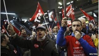 Demonstrators in Madrid
