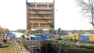 Lock gates craned in to position