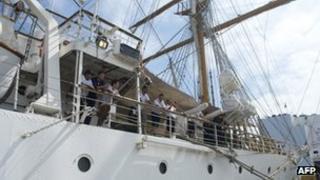 Sailors on board the Libertad on 13 November 2012