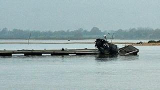 The damaged pontoon