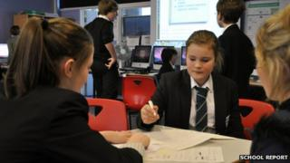Pupils discuss story ideas