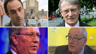 Clockwise from top left: Christopher Salmon, Alun Michael, Winston Roddick and Ian Johnston