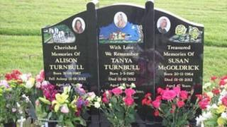 The grave of Michael Atherton's victims, Alison, Tanya and Susan