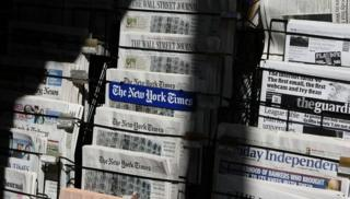 Newspaper stand in New York
