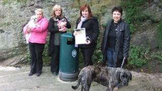 Councillor Edwina Hannaford (3rd from left) with dog owners
