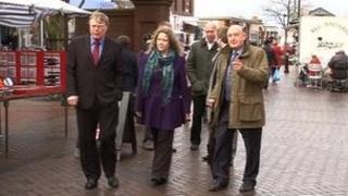 Sir John Hall (right) and members of Ashington Town Team