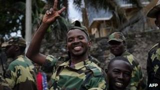 M23 soldiers celebrate in streets of Goma. 20 Nov 2012