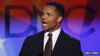 Jesse Jackson Jr speaks at 2008 Democratic National Convention in Denver, Colorado 25 August 2008