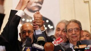 Opposition leaders at press conference in Cairo. 22 Nov 2012