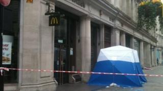 Aftermath of Regent Street stabbing incident near McDonald's restaurant