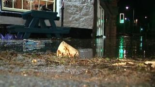 Flood debris in Newlyn, November 2012