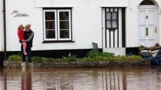 Flooding in Ruishton, near Taunton