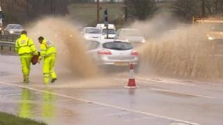 Flooded A19 at Castle Eden