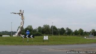 Artist's impression of The Leaping Man statue in Wavendon