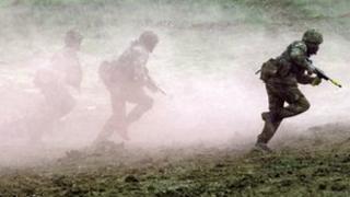 Soldiers training on Salisbury Plain