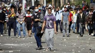 Protesters clash with security forces in Cairo's Tahrir Square. 29 Nov 2012