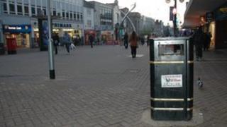 Bins on Abington Street, Northampton