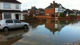 Flooded Lanesborough Road in Leicester