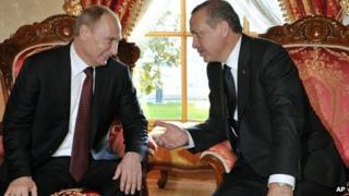 Russian President Vladimir Putin with Turkish Prime Minister Recep Tayyip Erdogan in Istanbul on 3/12/12