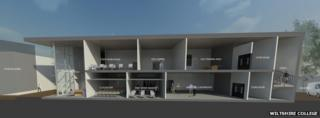 An artists' impression of the new construction facility at Wiltshire College's Trowbridge campus