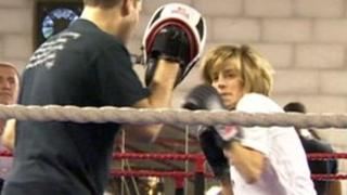 Charlotte Leslie MP boxing at the Fitzroy Lodge boxing club