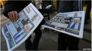 Newspapers with Leveson report headlines