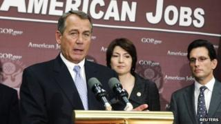 US House Speaker John Boehner speaks during a news conference on the fiscal cliff 5 December 2012