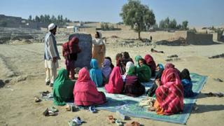 Makeshift outdoor classroom, Jalalabad, November 2012