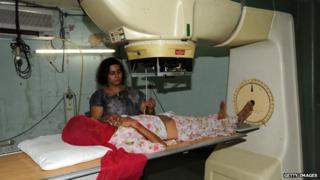 Woman in India undergoing treatment at Gujarat Cancer and Research Institute in Ahmedabad